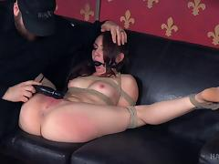 Flexible girl spread and tied up so he can toy her asshole