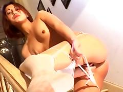 Slut In Stockings Wanks With Slim Dildo