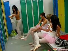This ballet class turns into a wild lesbian orgy on the dance floor