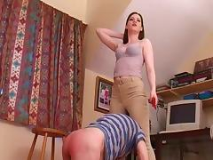 Miss Zoe riding mistress punishes stableboy
