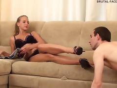 Smooth-skinned mistress sits down on the face of her servant
