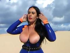 Blowjob Officer in the Dune - Public Latex Blowjob Handjob - Cum in my Mouth