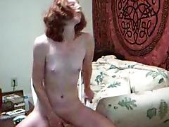 Petite Redhead Peggy Does Anal Dildo to Orgasm