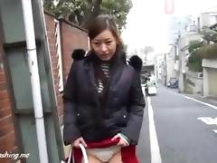 Asian cutie upskirt flashing in public streets PublicFlashing.me