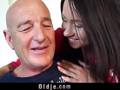 Teen fucks grandpa doggy missionary ends with facial