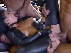 Obedient whore gangbang sex along males with huge dicks