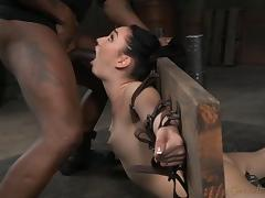Insatiable raven-haired floozy loves deepthroating a black boner
