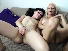 Mom and Girl, Blonde, Lesbian, Masturbation, Mature, Old