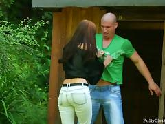 Naughty Mature brunette forcing a stranger to fucking her in several positions outhouse.