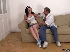 Father in law fucks sons's brunette gf