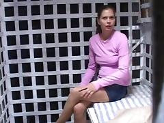 Pink shirt woman in cage