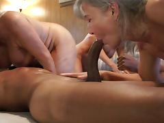 Group of hot grannies enjoy sharing two massive black rods
