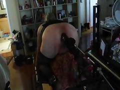 Mistress puts slave hubbie on the fucking machine