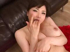 Busty Japanese lass moaning during the hard drilling of her cunny