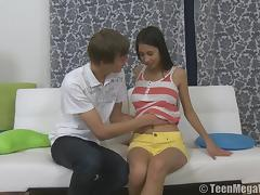 Brunette in shorts lovey riding massive dick hardcore