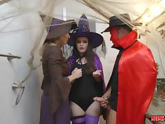 milf cory gets in between her step daughter's sexy halloween party