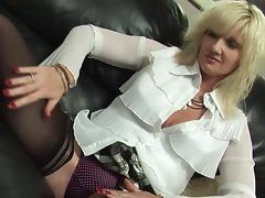 Sassy matured blonde seductively quenching dick thirst with toy