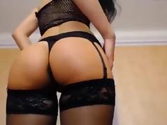Hot brunette chick dancing and showing ass