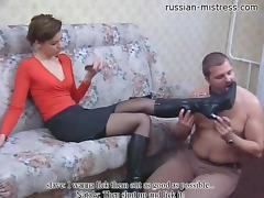 Ravishing Russian domina makes her hung man lick her feet