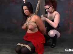 Brunette big tits fondled superbly in femdom BDSM torture