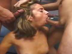 Gaping dame seductively displaying her pussy before rough face fucking