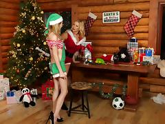 Pair of lesbian chicks having a naughty adventure for the Christmas