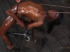 Toy fetish ebony getting pleasured with vibrator in BDSM porn