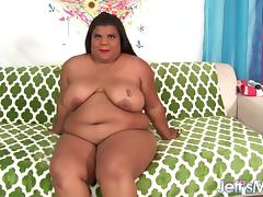 Chubby black girl uses sex toys