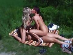 Threesome, Amateur, European, German, Outdoor, Threesome
