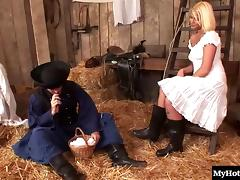 Hot blonde bitch has her anus plowed really hard in the barn