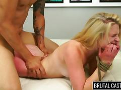 Young blond girl gets her pussy destroyed on casting couch