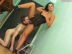 Sassy femdom babe spreading legs for the slave to lick her pussy