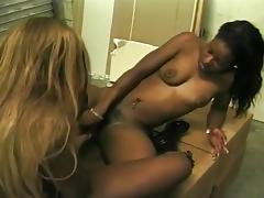 Busty Black Lesbians Fucking with Toys