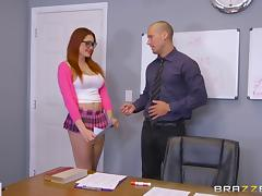 Red-haired schoolgirl with a perfect body gets nailed on the table