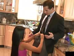 Black-haired Lexi Diamond is getting her first kitchen drilling