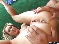 Skinny blonde will do anything for her handsome lover's swollen tool