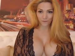 Gorgeous blonde big tits talks dirty.