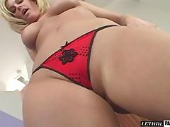 Smooth pussy filling for a blonde cougar with big melons