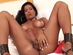 Fabulous Amateur Shemale clip with Brunette, Masturbation scenes