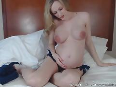 Gorgeous preggo blondie gives you a POV blowjob