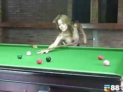 Sexy pool player shows off her great cock craving body