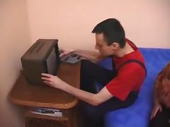 Busty granny fuck repairmen TV