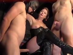 Mistress makes slave suck cock