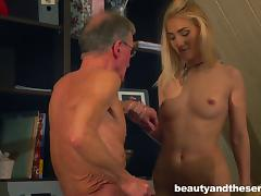 Wrinkled fellow seduced by a blonde who craves a real man
