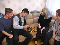 Angela meeting her sons friends