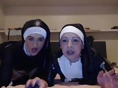 Lesbians nun horny show