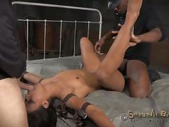 Rapacious fuckers destroy a submissive babe's holes