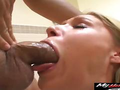 Blonde sweetheart sucks a cock before being covered in sticky jizz