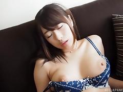 Sexy Saki Hatsumi moaning when pleasured using vibrator