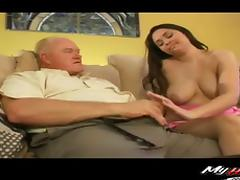 Elderly man has a good time fucking a fortunate brunette honey